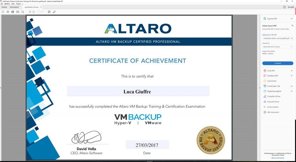 Altaro VM Backup Certification