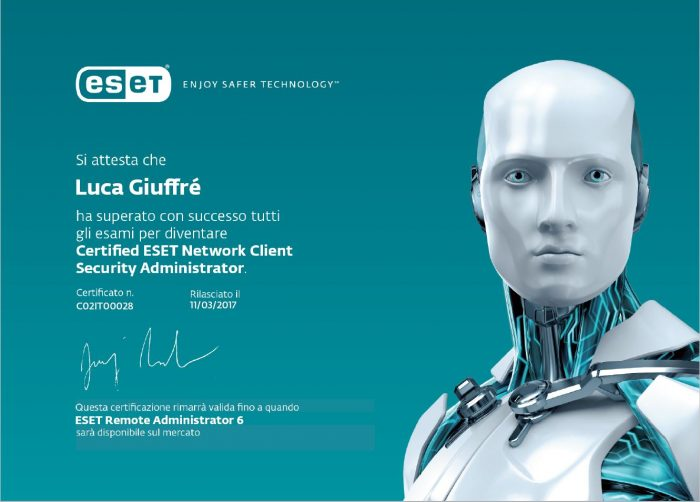 Certificazione ESET Network Client Security Administrator