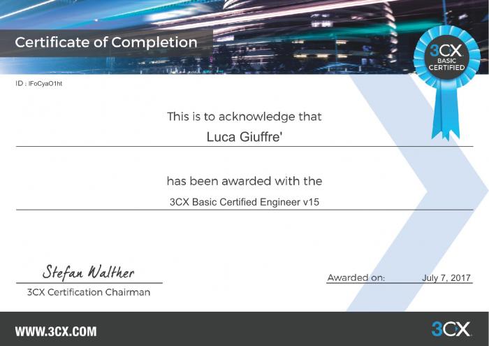 3CX Basic Certified Engineer